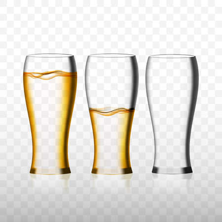 Empty and full beer glass for drinking alcohol beverage and one empty glass. Realistic vector 3d illustration