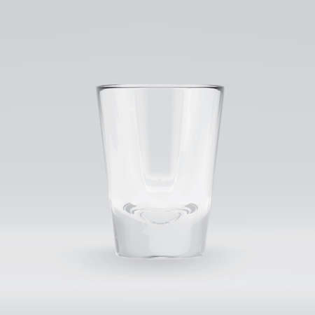 Empty transparent 3D rendered shooters glass for drinking alcohol shots at the bar. Realistic vector illustration of blank glassy shotglass stemware Standard-Bild - 118425612