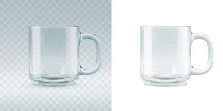 Empty transparent glass mug mockup. Realistic 3d vector illustration of blank glassy tankard or classic coffee cup Ilustrace