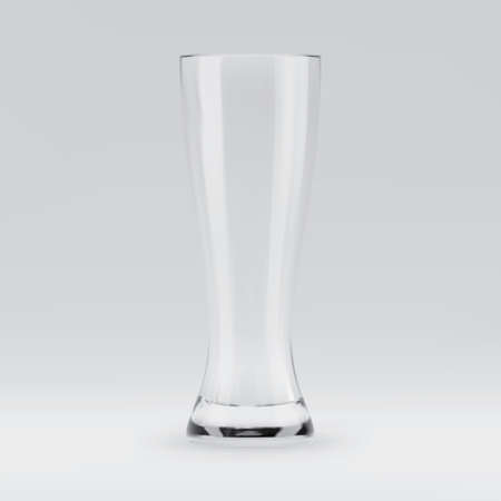Empty transparent 3D rendered beer glass for drinking alcohol beverage at the bar. Realistic vector illustration of blank glassy stemware 矢量图像