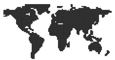 Global vector world map isolated on white background. Simple worldmap silhouette or earth atlas with schematic outlines of continents