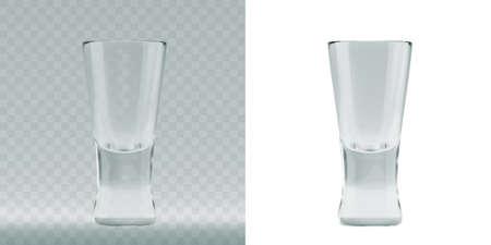 Vaso de tiradores renderizado 3D transparente vacío para beber tragos de alcohol en el bar. Ilustración vectorial realista de copas de shotglass vidriosos en blanco Ilustración de vector