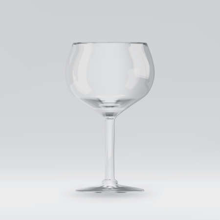 Empty transparent 3D rendered wine glass for drinking alcohol in restaurant. Realistic wineglass illustration or mockup of blank glassy stemware