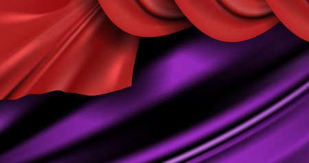 Wavy luxury red satin curtain background. Vector scarlet silk fabric texture or elegant purple soft cotton pattern