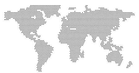 Mapa świata globalnego wektor na białym tle. Prosta sylwetka mapy świata lub atlas ziemi ze schematycznymi konturami kontynentów