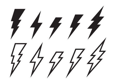 Lighting strike simple vector icon isolated. Battery charger pictogram, lightning bolt concept or thunderbolt symbol Illustration