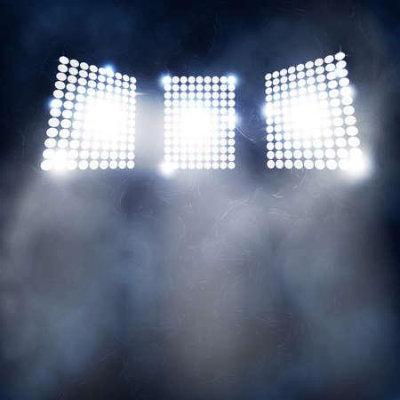 Spotlight Towers on Night Stadium in Smoke. Bright Spotlights Flash Flare in Blue Fog Vector Illustration Ilustração
