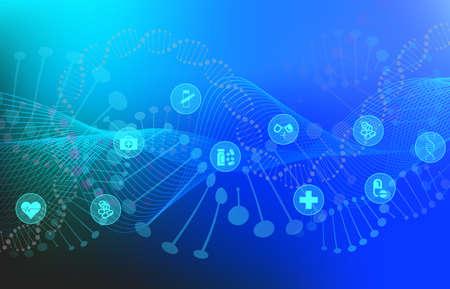 Big-Data-Visualisierung mit DNA-Helix, DNA-Bindungen, medizinischen Symbolen, genomischen Elementen, DNA-Strang für Konzept-DNA-Hintergrund mit Linienwellen