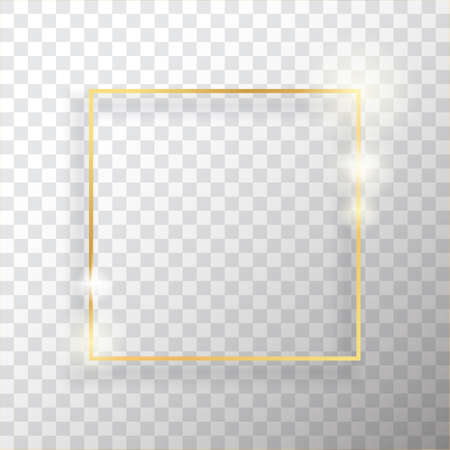Gold square vintage frame with shadow on transparent background. Golden luxury rectangular border - realistic vector illustration Stock fotó - 124129680