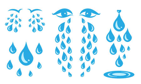 Blue cry cartoon tears icon or sweat drops from eyes vector illustration. Set of dew crying tear, droplets or teardrops isolated