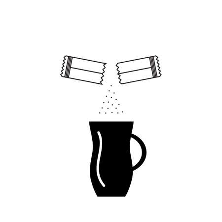 Opened Sachet Icon or Container Sign with Sugar or Creamer over a Coffee Cup isolated on White Background. Disposable Packaging Stick Vector Illustration