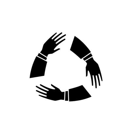 Team hands together or joining people concept icon. Teamwork hand in working group, business partnership idea or people connecting work emblem