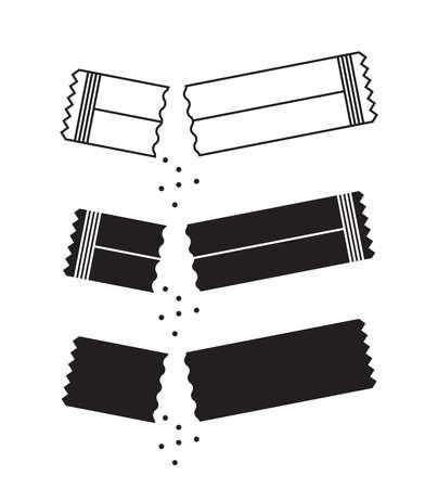 Bustina di zucchero icona o icone del contenitore con sale e carta isolati su sfondo bianco. Bastone da imballaggio monouso con illustrazione vettoriale di raccolta di bustine di crema o medicinali