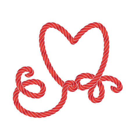 Twisted vector rope heart icon or cordage love symbol with loops isolated. Decorative red twisted jute twine lines Standard-Bild - 124129701