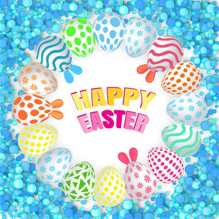 Happy Easter Background with Realistic Decorated Eggs and Confetti. Greeting Card 3d Design or Invitation Template Standard-Bild - 124129709
