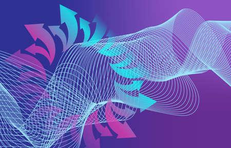 Beautiful Abstract Line Wave Futuristic Background. Thin Line Style Wavy Vector Geometric Pattern Standard-Bild - 124129710