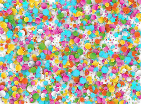 Farbiger Karneval Konfetti Explosion Hintergrund mit Sternen, Quadraten, Dreiecken, Kreisen. Abstrakte geometrische Formen 3D-Vektor-Muster für Geburtstags- und Party-Design Vektorgrafik