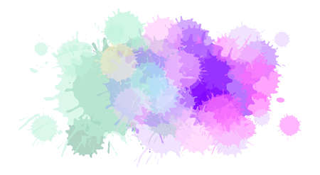Watercolor paint blobs texture or aquarelle splashes abstract vector background. Water color messy blot effect or pattern with color stains Vetores