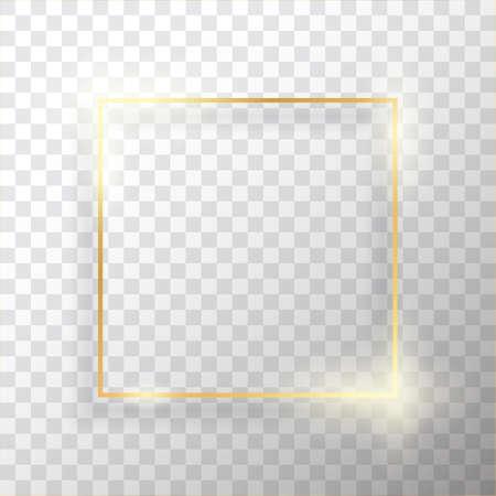Cornice d'epoca quadrata oro con ombra su sfondo trasparente. Bordo rettangolare di lusso dorato - illustrazione vettoriale realistica Vettoriali