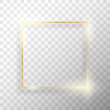 Gouden vierkante vintage frame met schaduw op transparante achtergrond. Gouden luxe rechthoekige rand - realistische vectorillustratie Vector Illustratie