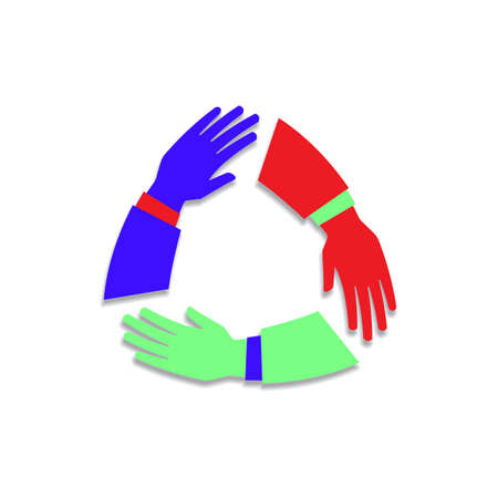 Team hands together or joining people concept icon. Teamwork hand in working group, business partnership idea or people connecting work emblem Standard-Bild - 124129736