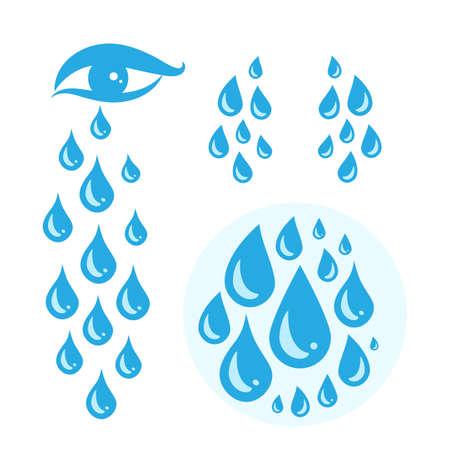 Icône de larmes de dessin animé de cri bleu ou gouttes de sueur de l'illustration vectorielle des yeux. Ensemble de larme pleurante de rosée, de gouttelettes ou de larmes isolées