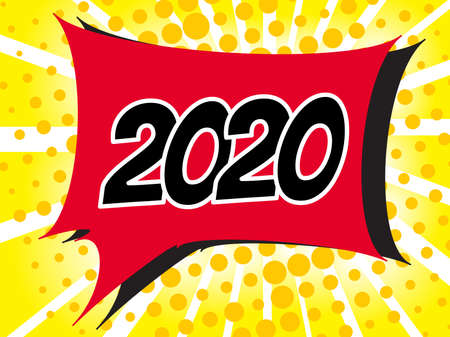 2020 Comic boom text sound effect on popart bubble speech cartoon background. Pop art boom effect vector illustration Standard-Bild - 124129748