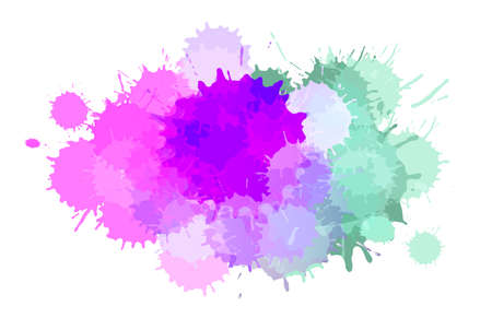 Watercolor paint blobs texture or aquarelle splashes abstract vector background. Water color messy blot effect or pattern with color stains Standard-Bild - 124129750