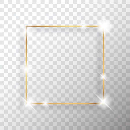 Gouden vierkante vintage frame met schaduw op transparante achtergrond. Gouden luxe rechthoekige rand - realistische vectorillustratie