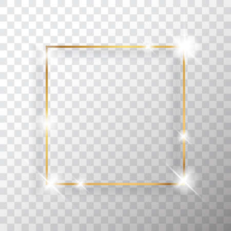 Gold square vintage frame with shadow on transparent background. Golden luxury rectangular border - realistic vector illustration