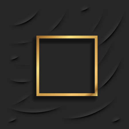 Gold square vintage frame with shadow on black background. Golden luxury rectangular border - realistic vector illustration