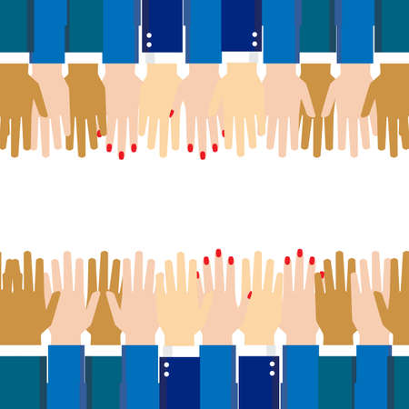 Team hands together or joining people concept icon. Teamwork hand in working group, business partnership idea or people connecting work emblem Standard-Bild - 124129756