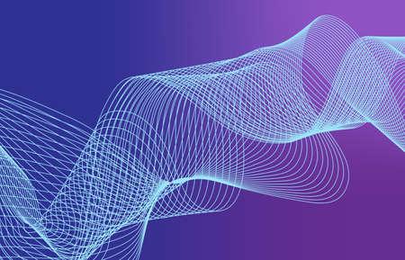 Beautiful Abstract Line Wave Futuristic Background. Thin Line Style Wavy Vector Geometric Pattern Standard-Bild - 124129758