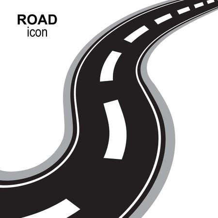 Icône de vecteur de perspective route, voie ou autoroute. Silhouette de Speedway, pictogramme de rue ou emblème de voyage isolé