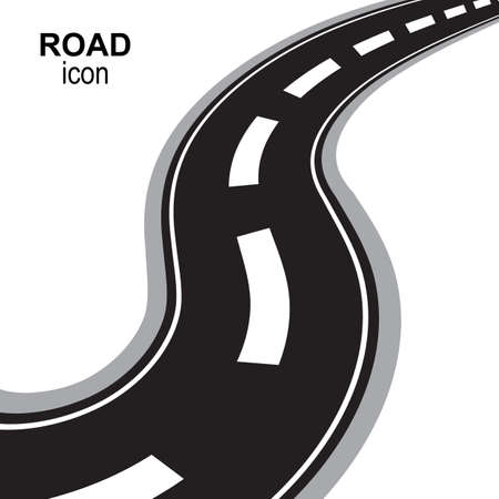 Road, way or highway perspective vector icon. Speedway silhouette, street pictogram or travel emblem isolated