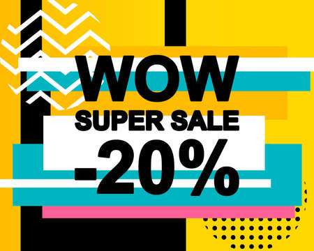 Sale poster with WOW SUPER SALE text or advertising banner template. Big discount special offer vector illustration Standard-Bild - 124526778