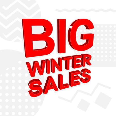 Sale poster with BIG WINTER SALES text or advertising banner template. Big discount special offer vector illustration Standard-Bild - 124526786