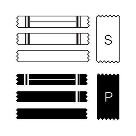 Bustina di zucchero icona o icone del contenitore con sale e carta isolati su sfondo bianco. Bastone da imballaggio monouso con illustrazione vettoriale di raccolta di bustine di crema o medicinali Vettoriali
