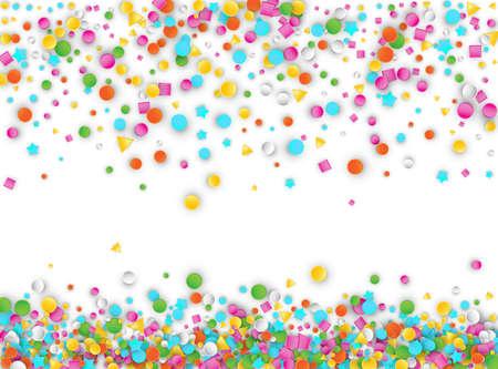 Fond d'explosion de confettis de carnaval coloré avec des étoiles, des carrés, des triangles, des cercles. Modèle vectoriel 3d de formes géométriques abstraites pour la conception d'anniversaire et de fête