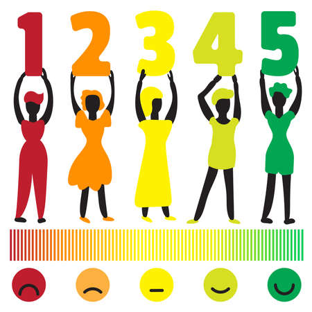 Feedback illustration with people holding rating scale numbers for customer satisfaction survey design. Customer service evaluation and rating concept with measuring scale and emoticons 스톡 콘텐츠