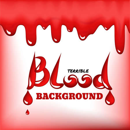Red blood drops frame or bleeding background with place for text. Realistic 3d vector illustration of scarlet dripping, drips or droplets Banque d'images - 130734891