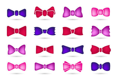 Colored Bow tie or neck tie 3d vector icon isolated on white background. Bowtie symbol, outline, logo, image or illustration