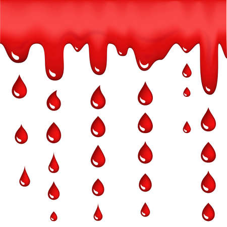 Red blood drops icons or bleeding symbols collection isolated on white background. Realistic 3d vector illustration of scarlet dripping, drips or droplets 스톡 콘텐츠 - 130734921