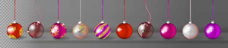 Collection of Transparent Realistic 3d Vector Christmas Balls with Golden Ornament. Set of Red, Violet and Gold Xmas Baubles or New Year Decoration Ball Elements Stock Photo