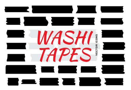 Mini washi tape strips or washy tape silhouettes. Collection of decorative adhesive strips or masking tape icons isolated on white background 스톡 콘텐츠 - 130735048