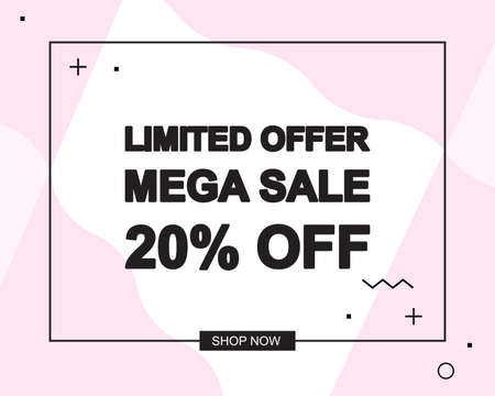Sale poster with LIMITED OFFER MEGA SALE text or advertising banner template. Big discount special offer vector illustration