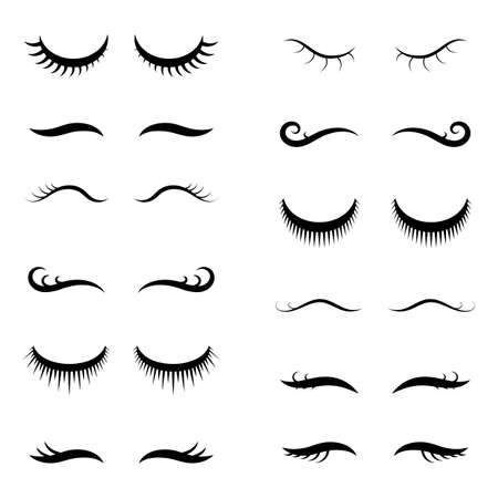 Unicorn closed eyes or simple girl vector eyelashes collection isolated on white background. Cute beautiful closed eyes for mascara makeup design or eyelash extension advertising
