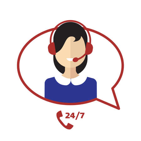 Call center telemarketing woman operator. Customer support and telephone sales concept. Flat avatar and icons