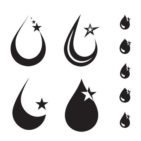 Mechanic oil drops or car engine oil vector icons. Shining black drop of car lubricant logo with stars isolated on white background 스톡 콘텐츠 - 130735058