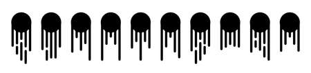 Round black current paint drips or circle stains collection isolated. Liquid dripping circles or melted ice cream drip silhouettes vector illustration 스톡 콘텐츠